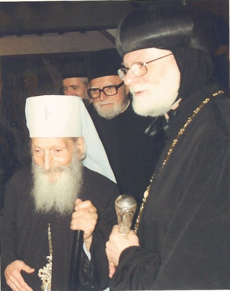 Abba Seraphim with the late Patriarch Pavle of Serbia, 2002