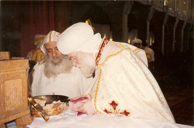 Abba Seraphim receiving the Divine Mysteries, 1994