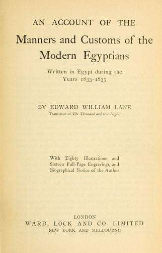 Lane's Modern Egyptians